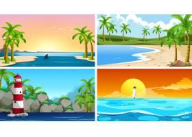 一套热带海洋自然景观或带海滩的背景_5184031