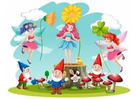 一套白色背景的童话和侏儒奇幻卡通人物_8485634