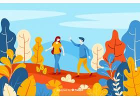 一对情侣在秋季公园散步_5143121