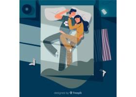 一对晚上睡在床上的扁平夫妇_4477933