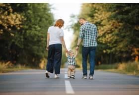 父母抱着他们的小儿子走在路上_8316745
