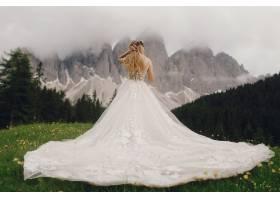 身穿奢华礼服的新娘站在美丽的山水前_3342119