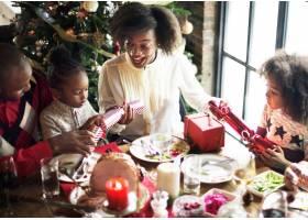 非洲裔家庭一起庆祝圣诞节_2997405