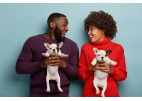 快乐的黑皮肤夫妻和小狗一起欢笑玩耍抱着_11576945