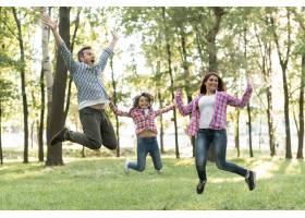 快乐的家庭在绿色的大自然中跳跃_4975803
