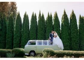 新婚夫妇坐在绿色面包车的车顶上户外绿树_7497964