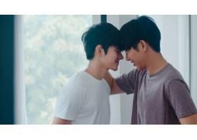 亚裔同性恋情侣站在家中靠近窗户的地方拥抱_6136978