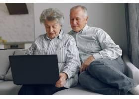 优雅的老两口坐在家里用笔记本电脑_7376585