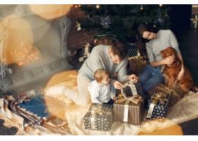 一家人在圣诞树附近的家里养着可爱的狗_11242666