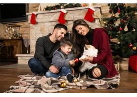 一家人在圣诞节时坐在烟囱边_1469465