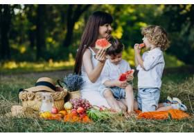 母亲和她的儿子们在公园野餐_10298765