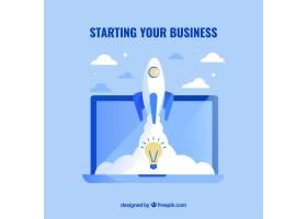 配备笔记本电脑和火箭的蓝色业务理念_2111730