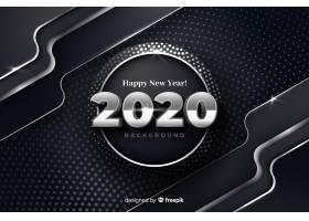 银色新年2020金属背景_5764819