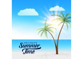 美丽的夏日天堂海滩场景背景_4604318