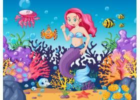 美人鱼和海洋动物主题卡通风格的海底背景_8825372