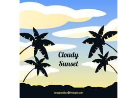 落日以平坦的云彩和梧桐树为背景_2126735