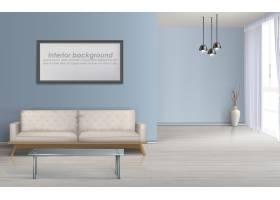 现代客厅极简主义设计宽敞的室内逼真矢量样_3823998