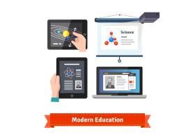现代技术在教育中的扁平图标集_1310875