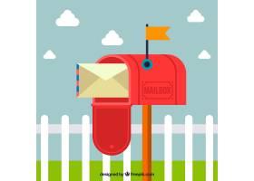 用信封打开红色邮箱背景_1084186
