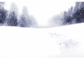 用水彩矢量绘制冬日仙境风景画_3374646