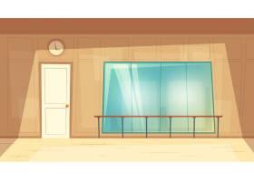 有镜子和木地板的空舞厅的卡通插图_3090610