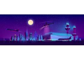 有飞机和直升机的矢量夜间机场_3824040