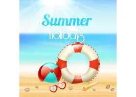 暑假旅游背景海报戴墨镜救生绳沙滩海星_4560847