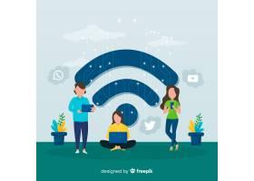 有WiFi标志背景的扁平人_4740119