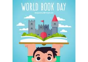 有一本书和一座城堡的儿童背景_1067331
