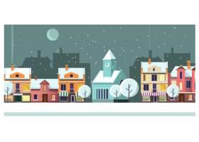 有房屋和月亮插图的冬夜小镇景观_3298165