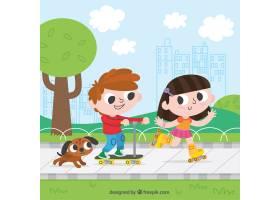 快乐的孩子们在户外玩耍_999060