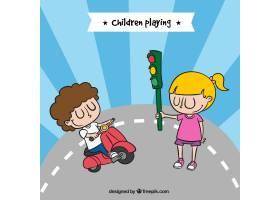 快乐的孩子们玩着摩托车和红绿灯_1074067