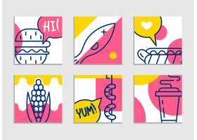 快餐菜单一组卡通背景炸薯条汉堡包_3330289