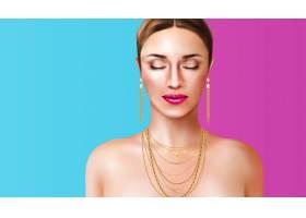 在蓝色和粉色背景上戴着珠宝首饰的女子现实_6821714