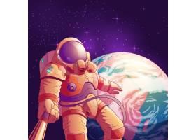 外层空间卡通插图与身穿未来主义太空服的宇_3685362