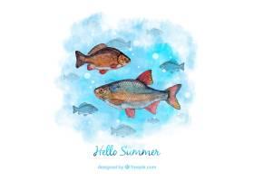 夏季水彩画与鱼为背景_927319