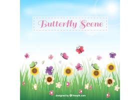 草为背景有花和蝴蝶_1061212