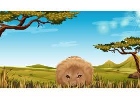 草原上的一头狮子_4307677