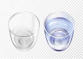 逼真的空玻璃杯和透明背景上蓝水的杯子_2703403