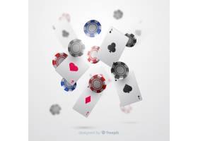 逼真的赌场筹码和纸牌落下背景_4362413