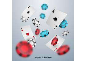 逼真的赌场筹码和纸牌落下背景_4362418