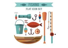 钓鱼概念图标集平面设计水边的娱乐活动_3332330