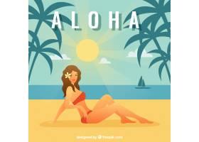阿洛哈阳光明媚的海滩背景_1166200