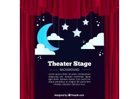 挂着月亮和云彩的剧场舞台背景_1035715
