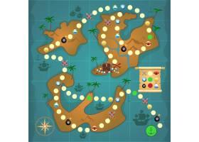 海盗宝岛地图游戏拼图模板矢量插图_1159119
