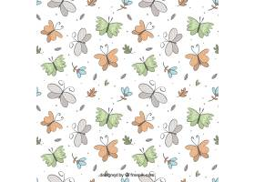 彩色蝴蝶和蓝色花朵的美丽图案_1081390