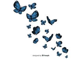 扁平蝴蝶飞舞的背景_4058914
