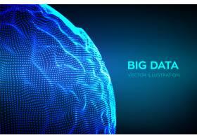 抽象的大数据科学背景球面网格波_8801009