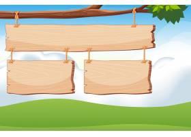 带有天空背景的树枝上的木制标牌模板_7353764