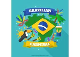 带有巴西狂欢节元素的五颜六色的背景_1023101